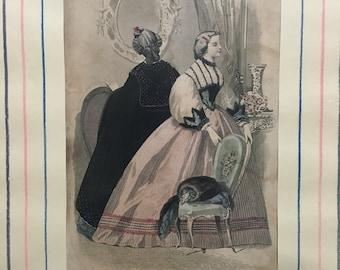 Vintage Fashion Plate, Les Modes Parisiennes, February 1863. Illman Brothers.
