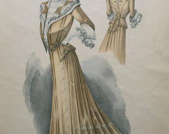 Vintage Fashion Print, Le Bon Ton, April 1902, No. 924