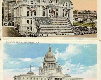 Postcards: Two Vintage Rhode Island Postcards. State Capitol and City Hall, Providence RI, 1915-30