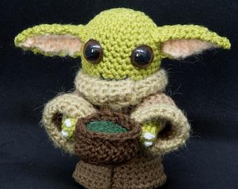 Amigurumi DIY Craft Kit - Star Wars - Yoda Baby - Grogu tea, Crochet pattern digital PDF