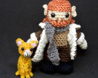 Amigurumi Doll Pattern - Critical Role - Caleb Widogast with Frumpkin, DIY Crochet Digital PDF