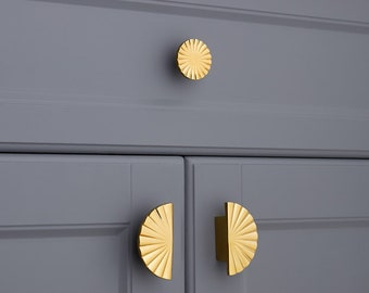 Semicircle Pulls,Sunflower Knobs,Texture Drawer Pulls,Brass Circle Cabinet Knobs,Silver Semicircle Handles,Wardrobe Knobs,Gold Knob,Fan Knob