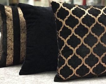 3 Pcs Exclusive Pillow Covers,Decorative Home Pillow Covers,Cushions,Zippy Pillows-GOLD 13-015