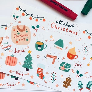 stationary Christmas Gnomes stickers planner scrap booking