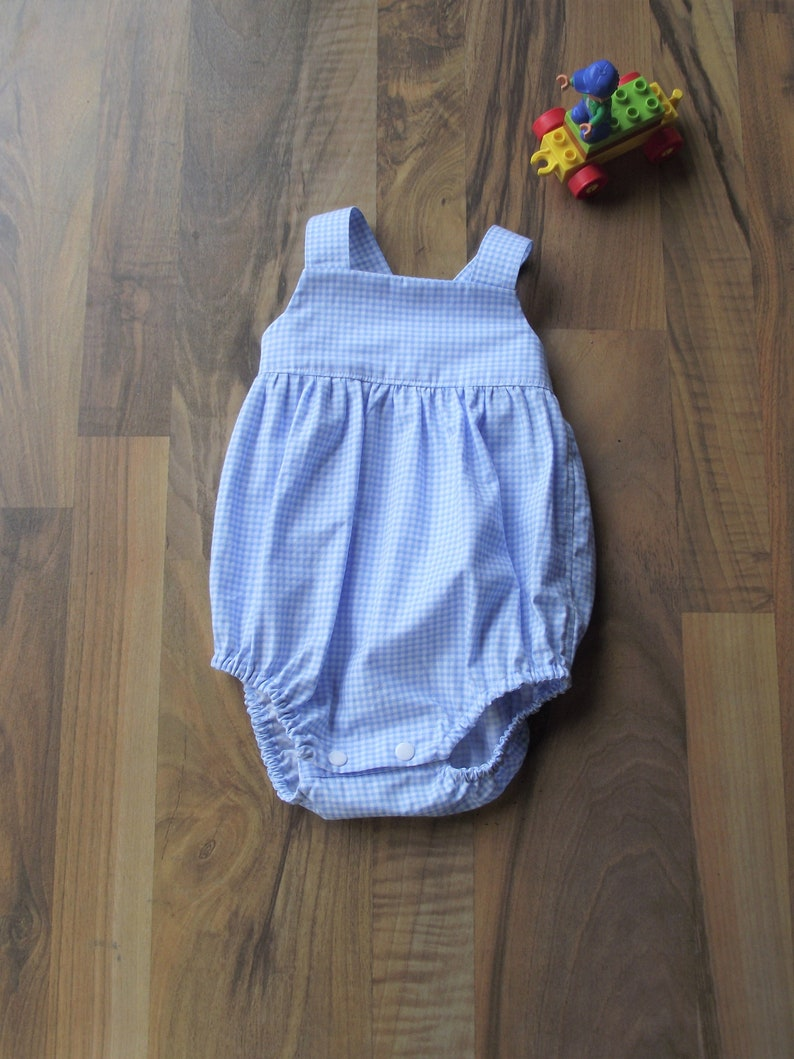 Cotton Gingham Romper Blue and White Check Romper Summer Wear Gingham Baby Boy Romper Shorts Dungarees Baby Boy Gift Baby Boy Shorts