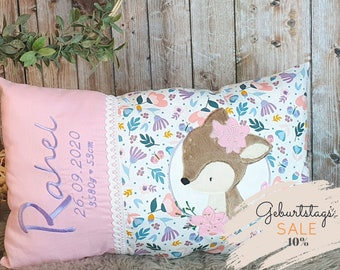 Birth Pillow, Name Pillow, Personalized Pillow, Birth Gift, Girl, Princess, Flowers, Pink, Pillow with Name, Kids Pillow