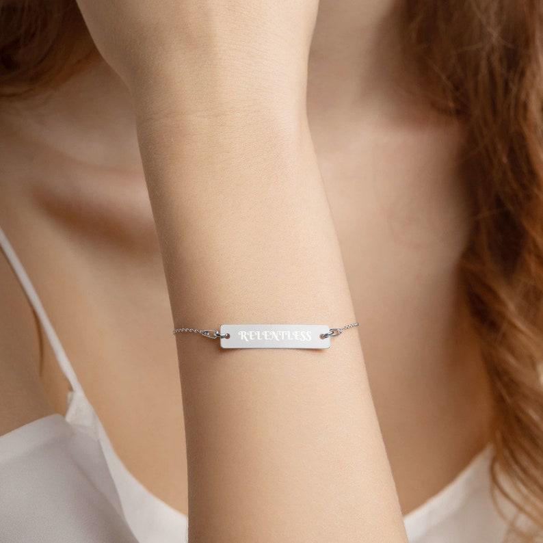 RELENTLESS Engraved Silver Bar Chain Bracelet