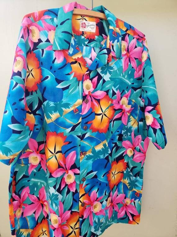 Bright and Bold Tropical Flower Print Men/'s Short Sleeve Shirt The Hawaiian Original Vintage 1990/'s Hilo Hattie/'s Luau Island Cruise