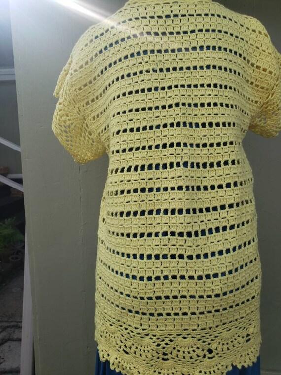 Flower child, Yellow crochet knit 70's handmade s… - image 4