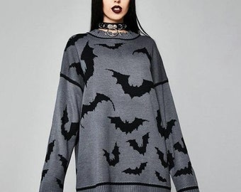 Goth Bats Punk Long Sweater, Gothic Dark Loose Long Sweater, Rock Casual Dress, Oversized Knitted Ripped Gothic Jumper,Baggy Torn Sweater