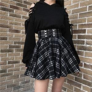 Steam Punk Skirt Tartan Plaid Skirt Black Skirt Skinhead cloth Woman/'s Clothing Gothic Skirt Handmade Cloth Punk Rock Skirt