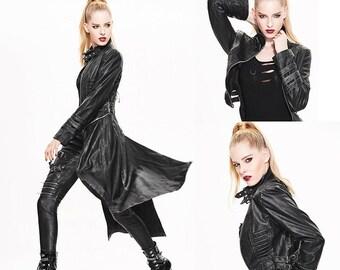 Gothic Black Coat Detachable Part,Gothic Vampire Coat,Goth Punk Oversized Jacket,Harajuku Kawaii Halloween Syntetic Leather Cosplay Coat