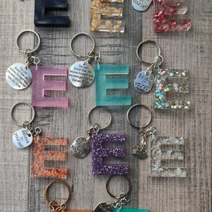 Customisable Personalised Embroidered FloralPlain Initial Key Ring