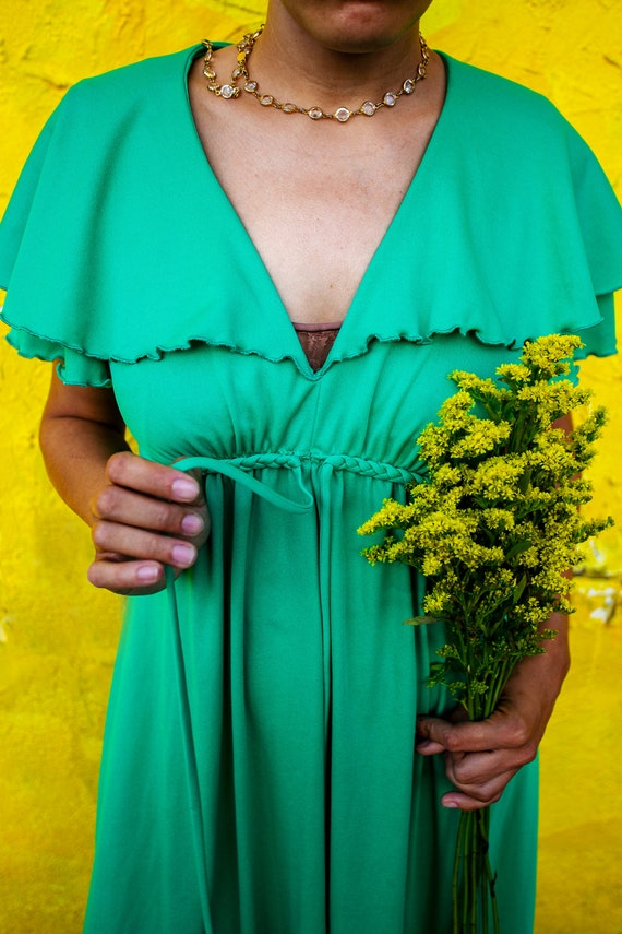 VINTAGE GREEN 70s Maxi Dress