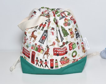 Medium drawstring project bag for knitting, crochet or crafts, Christmas London Icons project bag