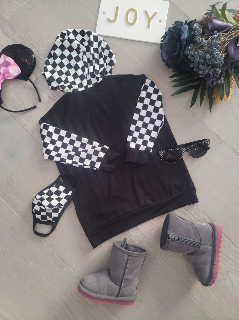 FaceMask Set Free Gift US Handmade Toddler/'s /& Kid/'s Girl/'s and Boy/'s Unisex Clothing Contrast Checkerboard Plaid Kangaroo Pocket Hoodie
