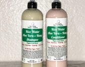 Rice Water Aloe Vera Hemp Shampoo Conditioner SET Peppermint Scent Hair Growth Soft Hair Moisturize DryHair Dandruff Cleanse Vegan Natural