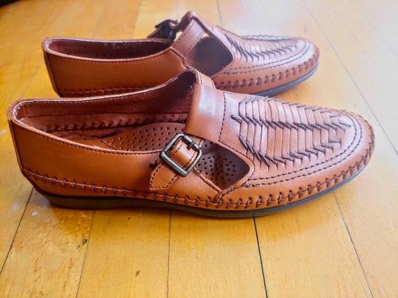 Dexter Woven Leather T- Strap Shoe | 80s Leather M