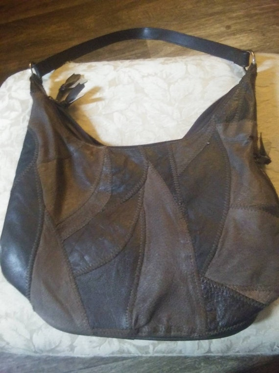 Genuine Brown Leather Patchwork Purse