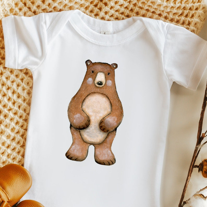 Gender Neutral Baby Clothes Click to Shop Woodland Bear Bodysuit