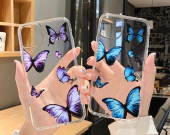 iPhone 12 Case, Colorful Butterfly Case for IPhone 13 12 11 Pro Max X Xr Xs 8 Plus SE 2020, Clear Transparent Soft Silicone Back Cover