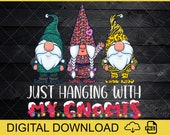 DIGITAL FILES PNG - Three Gnomes In Red Christmas Just Hanging With My Gnomies Png, leopard Gnomies, Gnomies Png, Christmas Gnomes