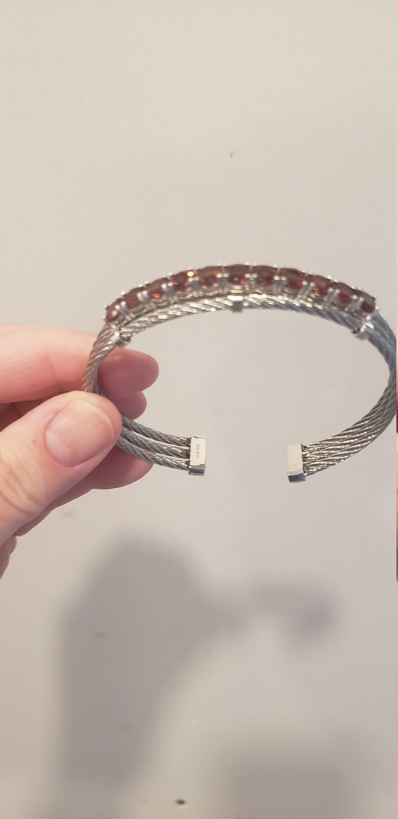 Edgy Sterling Silver & Garnet Cuff Bracelet