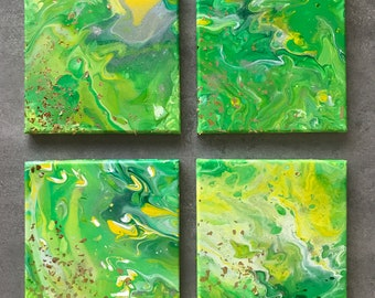 GREEN abstract. Set of 4 with glitters. Gallery wrap. Ready to hang.
