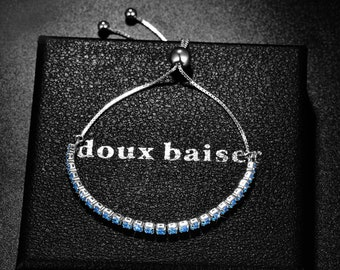 Aquamarine Bracelet for Women & Girls - Silver 925 Bracelet - CZ Sapphire Gemstones - Tennis Slider - Gift Colleague Friend Mum Daughter
