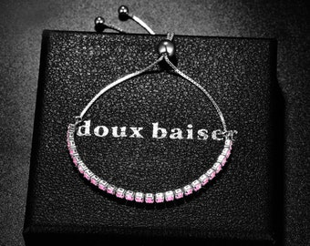 Teenage Birthday Girl Gifts CZ Crystal Pink Gemstones - Tennis Slider Bracelet - Gift Colleague Friend Mum Daughter - Birthday Girl Gift