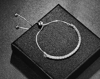 Sterling Silver 925 Adjustable Crystal Bracelet Women & Girls - CZ Gemstones - Tennis Slide Bracelet - Gift Colleague Friend Mum Daughter