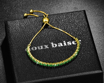 Emerald Gold Bracelets Women & Girls Sterling Silver 925 Adjustable CZ Crystals - Tennis Slide Bracelet - Gift Colleague Friend Mum Daughter
