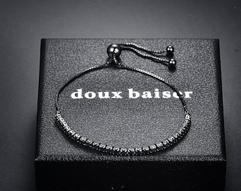 Tourmaline Sterling Silver 925 Crystal Bracelet Women & Girls - CZ Black Gemstones - Tennis Slide - Gift Colleague Friend Mum Daughter