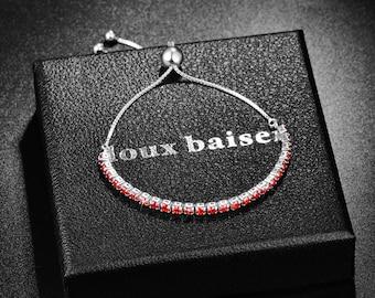 Ruby 925 Sterling Silver Crystal Bracelet - Women & Girls - CZ Red Gemstones - Tennis Slide Bracelet - Gift Colleague Friend Mum Daughter