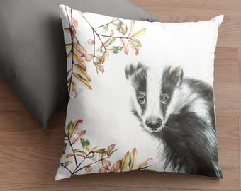 Badger Cushion with Inner White Badger Pillow High Quality Super Soft Faux Suede Vegan Badger Design by Aimee Linzi