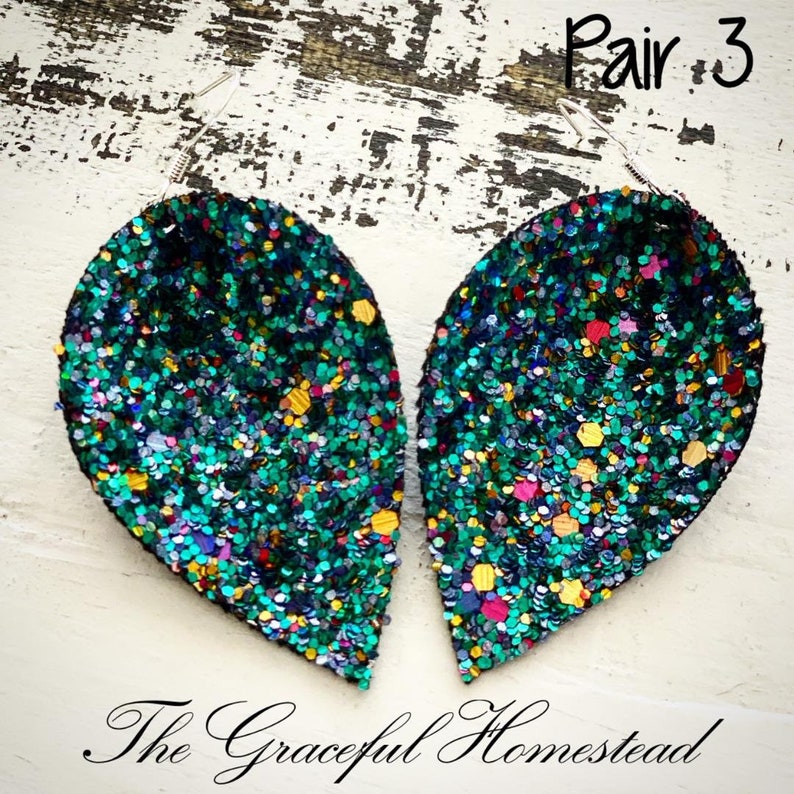 Faux leather sparkle glitter earrings