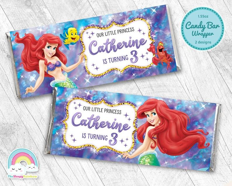 Little Mermaid Birthday Party Candy Bar Wrapper Little Mermaid Ariel Chocolate Bar Wrapper Label Printable