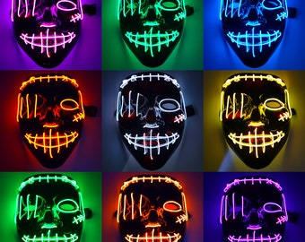 Neon LED Light Up Stitches Purge Face Mask Halloween Holiday Rave Clubbing Party Festival EDC Costume Cosplay El Wire Adjustable Strap Glow