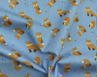 4 Metres Blue Fox Foxes Printed 100% Cotton Poplin Fabric. Ideal for Quilts, Crafts, Facemasks