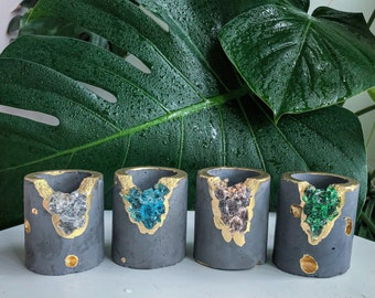 Set of 4 Small Crystal Succulent Pos - Set of Air Plant Holders - Taper Candle Holders - Toothpicks Holders- Concrete Pots  Small Plant Pots