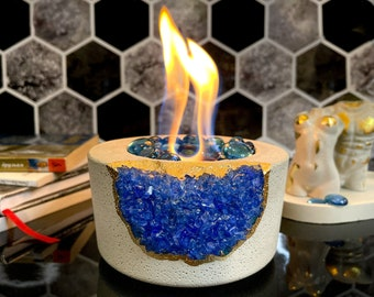 Tabletop Fireplace with Navy Blue Crystals | Indoor Fire Bowl | Fire Pit Outdoor Decor Portable Table Top Chiminea Meditation Geode Candle