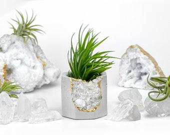 Raw Clear Quartz Crystal Planter | Geode Small Succulent Pot | Mini Air Plant Holder | Crystal Candle Holder Air Plant Display Yoga Gift