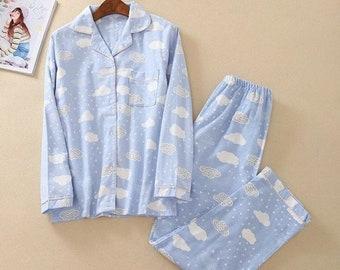 Cotton pajama set Monogrammed pajamas women Bride pajamas pants Cute pajamas Cloud print Bridesmaid pajamas Monogrammed gifts Sleepwear