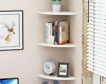 Set of 3 Floating Corner Shelf Wall Mounted Shelves Display Unit Wood Bookcase Shelving