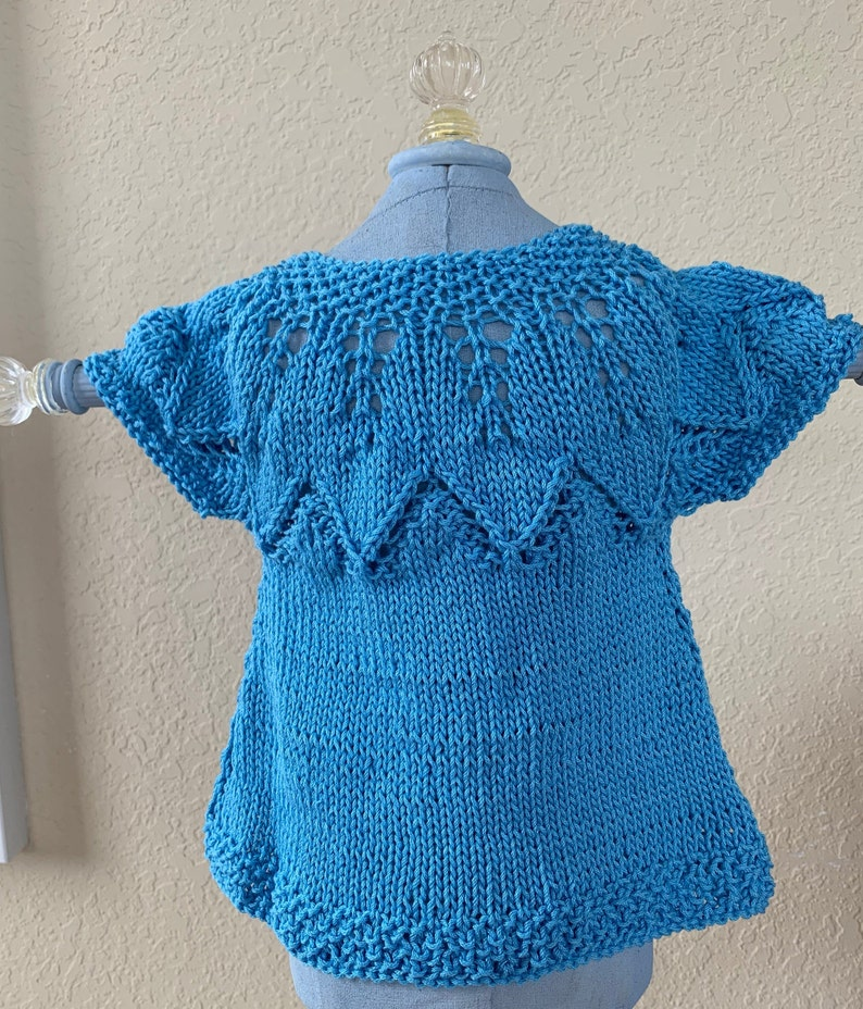 Autumn Leaves baby sweater and socks hand knit 100/% Aqua blue cotton