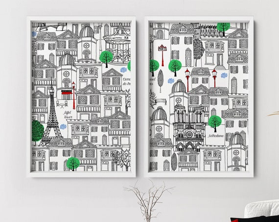 Paris Print set of 2 Prints, Paris Monuments Illustration Print, Paris City Outline silhouette, Paris Iconic Landmarks