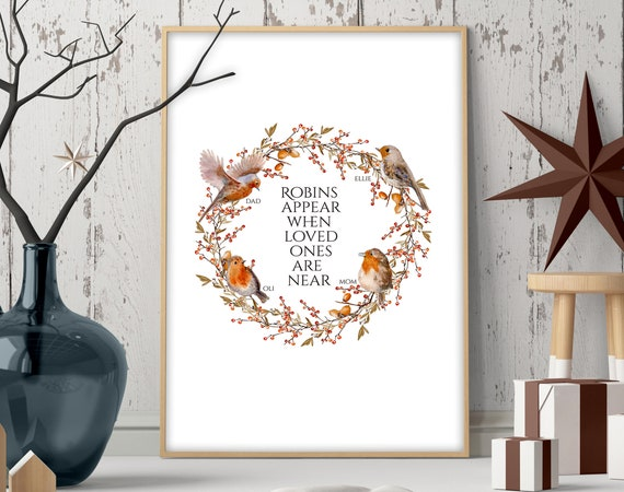 Cute custom christmas gift for mom, Robins family personalised holiday christmas wreath, Front door welcome wall art present for grandma
