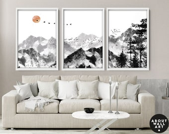 Watercolor Minimal Landscape Mountain Set of 3 Prints, Home Decor Wall Art, Above The Bed Wall Art, Wall Hangings Home Office Decor