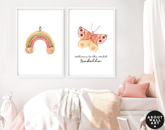 Boho nursery decor 2 piece wall art set for baby girl, Rainbow and Butterfly custom nursery name sign for little girls, 1st time mom gift