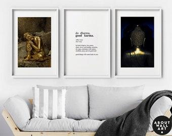 Set x 3 Buddha Prints, Yoga art prints, Spiritual Gifts, Boho Decor, its called karma, Home Decor, Wall hanging